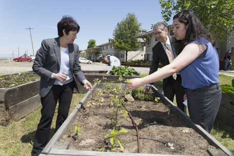 UC Merced Chancellor at campus garden